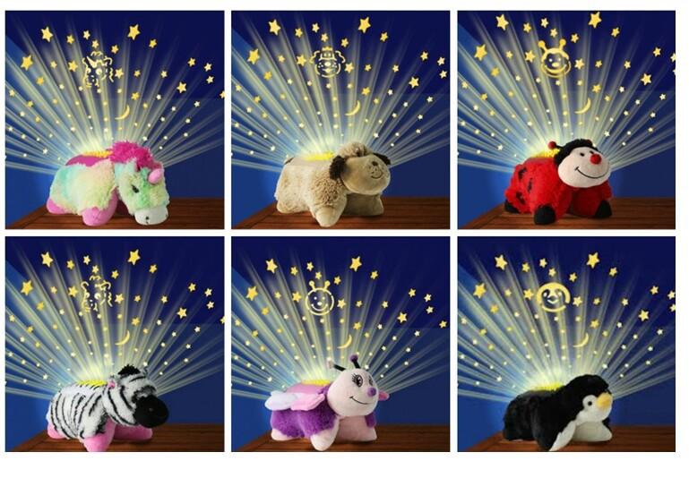 Animal Pillow That Lights Up : Cute little animals Sleep night Light pillow baby toys mini projector bonecos minions dora ...