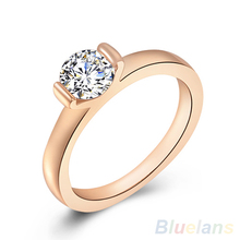 Women's 9K Rose Gold Plated Austrian Crystal Wedding Party Jewelry Ring