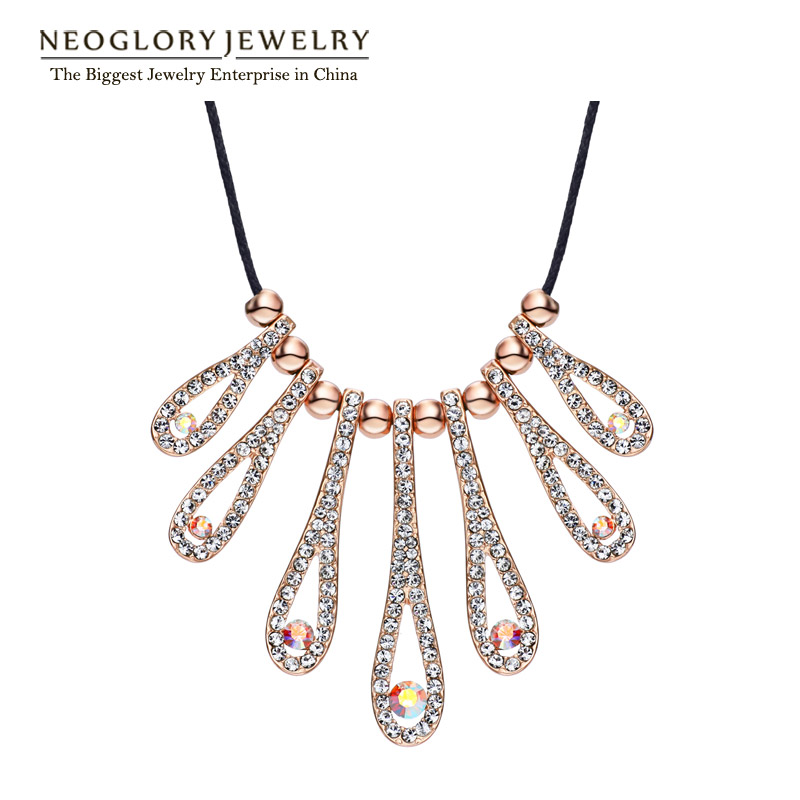 Neoglory Auden Rhinestone Rose Gold Plated Bib Chains Necklace Women Jewelry Accessories Romantic Charm 2016 New Fashion CN2 - NEOGLORY JEWELRY store