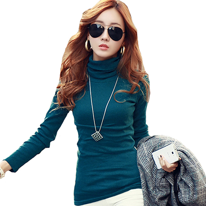 Spring Autumn Winter Fashion Turtleneck Tops Long Sleeve Cotton T Shirt Slim Casual t-shirt women 2016 Basic Tees Shirts A550