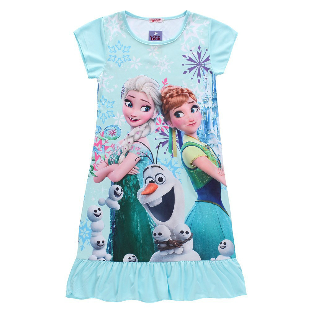 Elsa Dress Snow Queen Kids Summer Cartoon Anna Flounced Dresses For Girls Party Princess Cinderella Costume