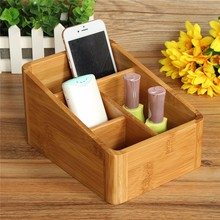 NEW Bamboo Desktop Storage Box Cosmetic Finishing Box Wooden Stationery Storage Rack phone remote control Container Office(China (Mainland))