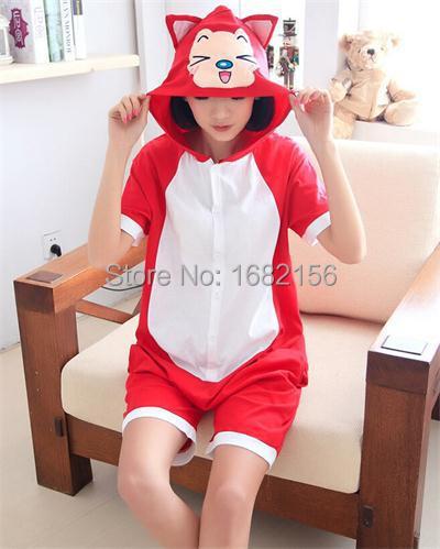 New Adult Short Sleeve Pajamas For Women Men Cosplay Costumes Summer Cotton Red Fox/Ali Onesie Funny Animal Sleepwear(China (Mainland))