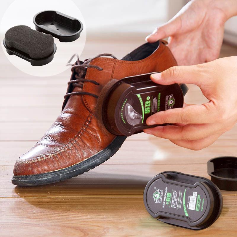 Colorless light shoes brush brush double-sided leather shoes wax oil maintenance care shoeshine sponge polishing shoes oilKT0785(China (Mainland))