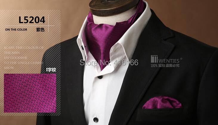 Geometric Red Ascot Cravat(Scarf )+Pocket Square 1set/lot L5204 100% Silk Paisley Jacquard Ties - Bo Shop store