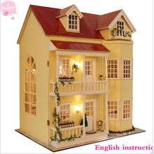 DIY Wooden Dollhouse Miniature Kit W/LED Light Music box & All furnitures Handcraft Kits Large Villa+English instruction(China (Mainland))
