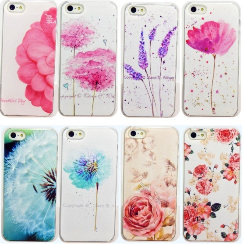 5/5S SE 4'' Beautiful Flower Design Painted Hard Black Cover Cases Fit Iphone 5 5S Case Phone Fashion Shell Hot Sell! - Store store