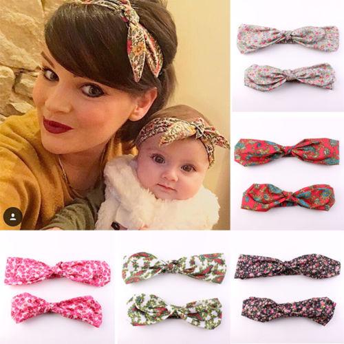 Mama & Baby Print Floral Headband Flower Bow Knot Headband Rabbit Ears Elastic Headdress Girls Hair Accessories(China (Mainland))