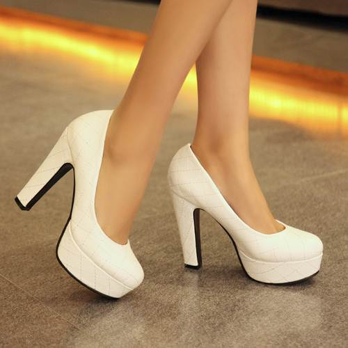 2015 new sexy round toe platform shoes women pumps high quality large size 34-43 thick ultra high heels weddding shoes woman