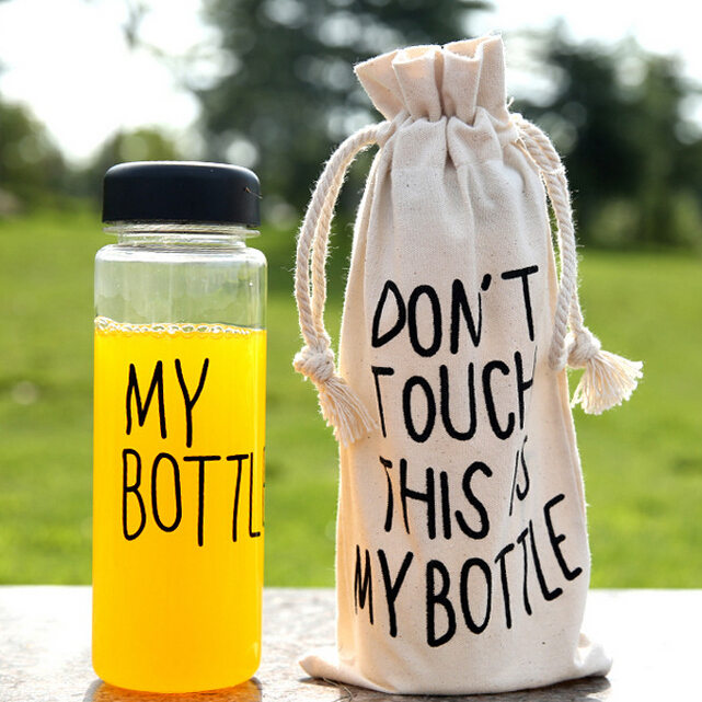 Kettle bottle with gift bag korea style plastic water bottles sport lemon juice cicycle cup drinkware with word 500ml FB032(China (Mainland))