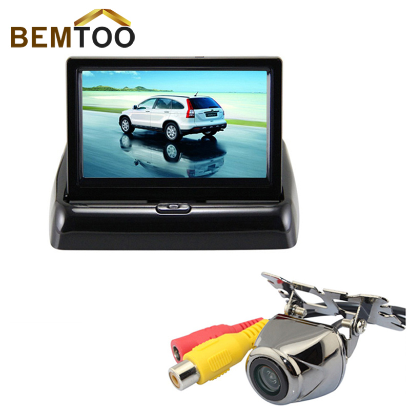 2CH Video 4.3  Foldable TFT LCD Color Rearview Mirror Car Monitor +Reversing Video Camera 170 Angle Night Vision Parking Camera<br><br>Aliexpress
