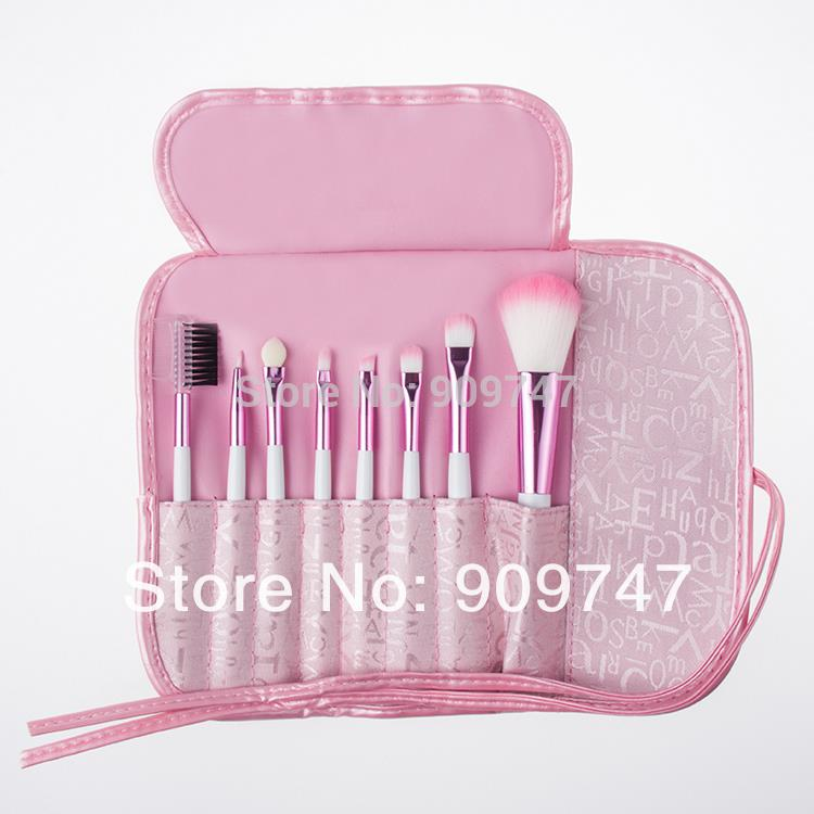 Hot Selling 8 pcs Professional Pink Women Makeup Brush Set Cosmetic Brushes for Face And Eye Shadow Lady's Gift free shipping(China (Mainland))