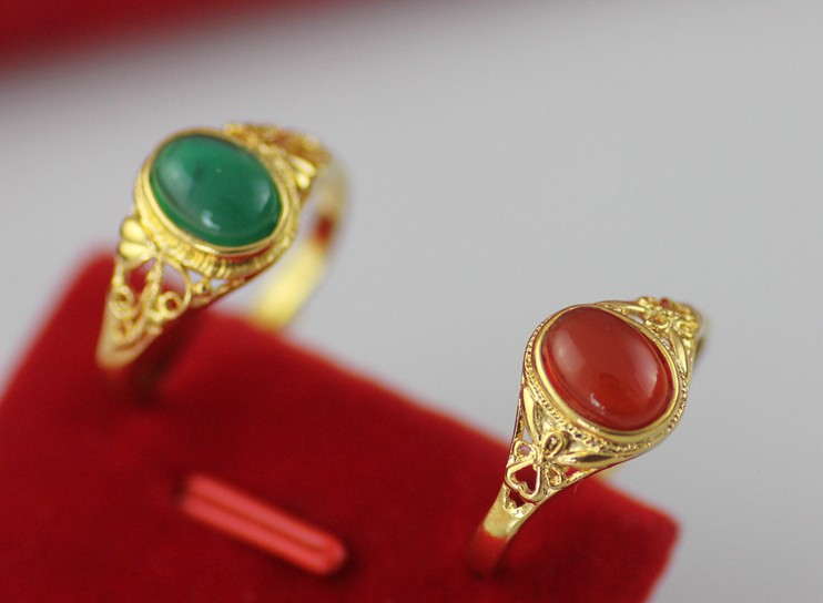 China 's classic Vintage 24K Gold filled tungsten oval Enamel red And Green Finger Ring for men women Party Wedding Fashion Jew(China (Mainland))