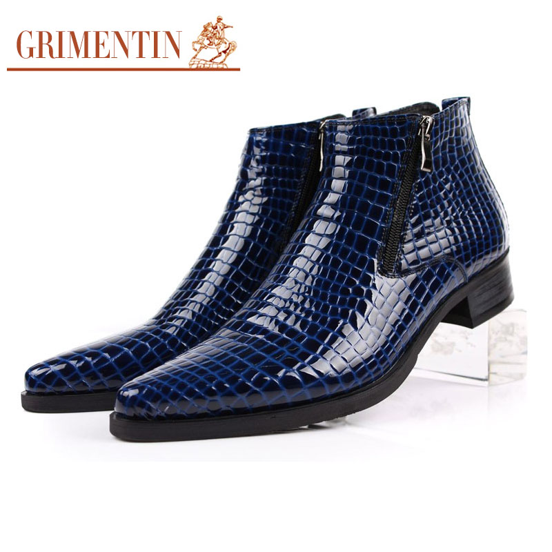 Large size 12 fashion crocodile men ankle boots genuine leather comfortable top grade pointed toe mens dress shoes for business(China (Mainland))