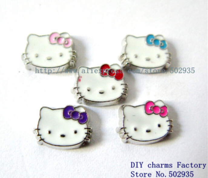 10pcs Zinc Alloy Mix Color Hello Kitty Face Floating Locket Charms Fit Living Memory living memory lockets FC225(China (Mainland))