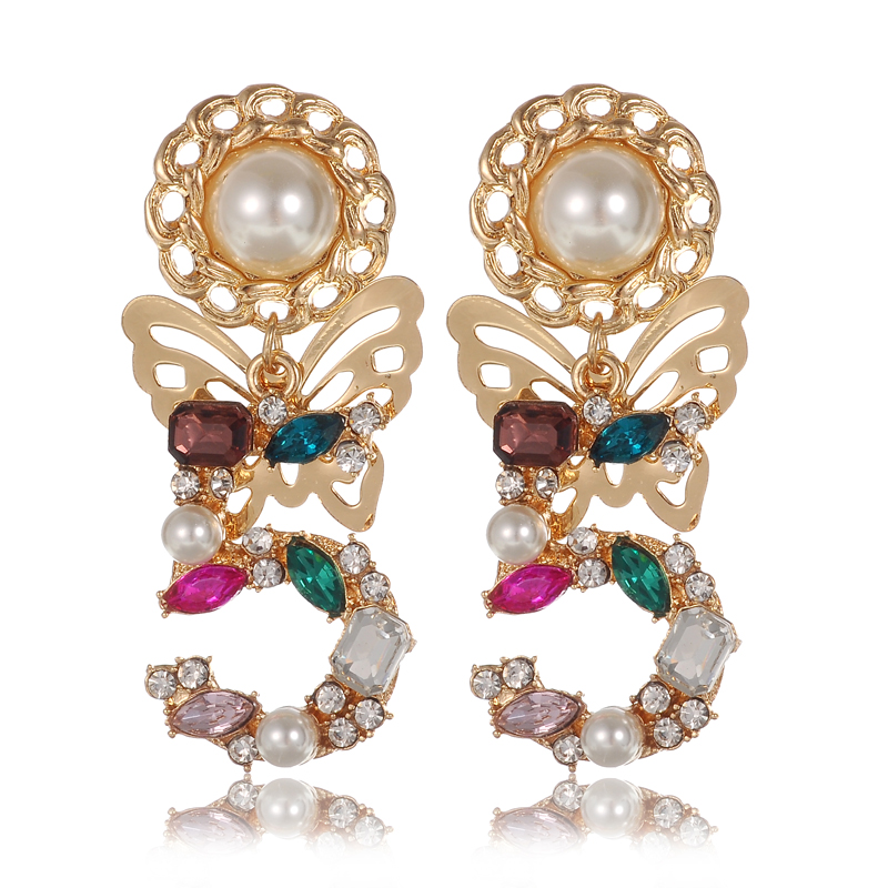 HP-UP Luxury Baroque Brand Colorful 5 Inlay Crystal Pearl Gem Charm Butterfly Statement Earrings Wedding Party Gift Earrings(China (Mainland))