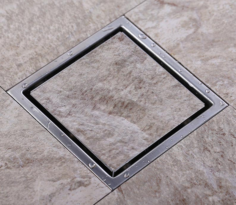 Badkamermeubel Wastafel ~ Tegel insert vierkante vloer afval afvoer roosters badkamer douche