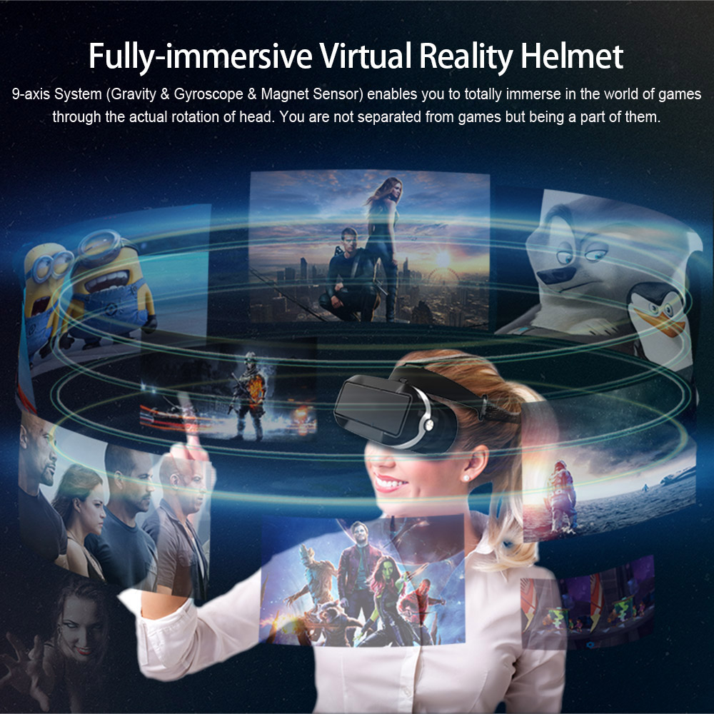 VR07 Virtual Reality Glasses All-in-one 3D VR Headset 1080P 5.5″ Touch Screen 110 FOV 2G 16G WiFi BT4.0 w / Earphone TF Slot