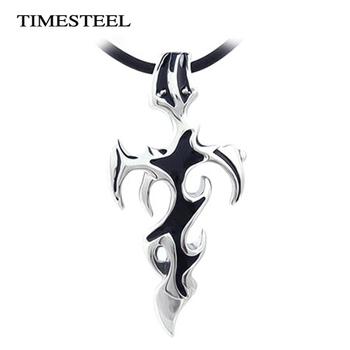 TSN208 Titanium 316L Stainless Steel Men Jewelry Cross & Sword Necklaces Pendants Black Color