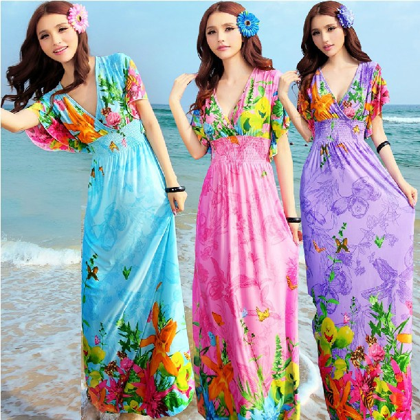 2016 New Arrival Maxi Dress Lotus Sleeve Butterfly Women Summer Beach Dress Robe Longue Femme One Size(China (Mainland))