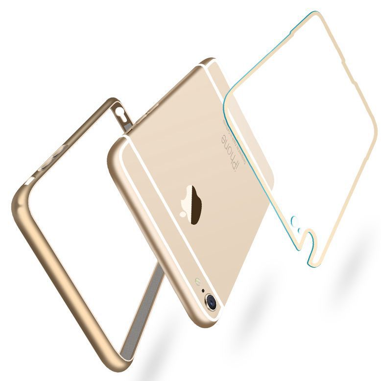 i6 Luxury Hard Metal Aluminum +Soft Transparent PC Back Case For Apple iphone 6 4.7'' Cover Case Original Brand Mobile Phone(China (Mainland))