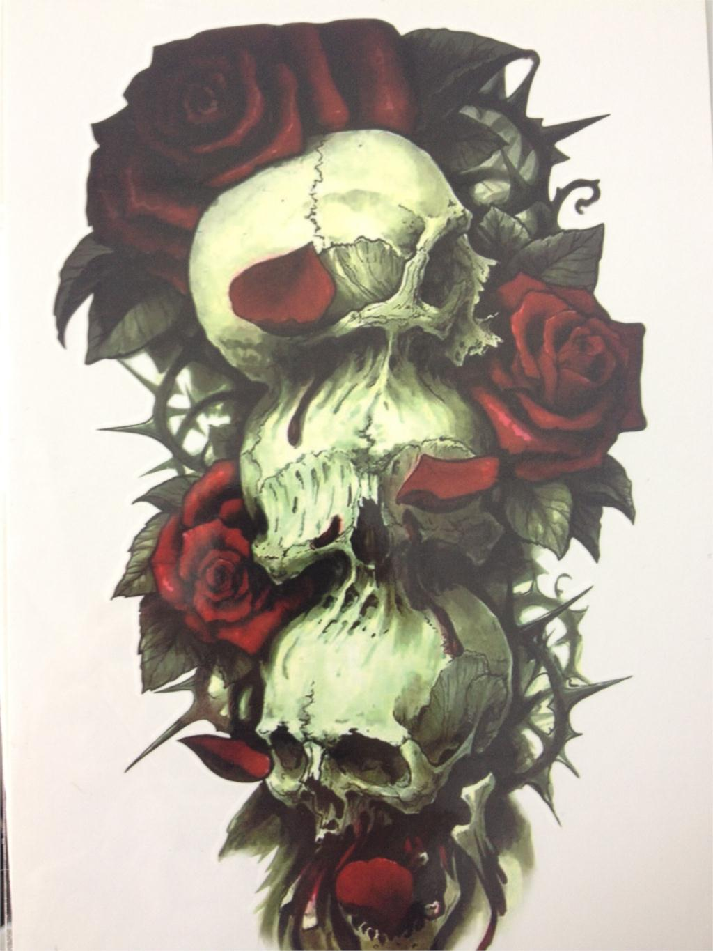 Skull And Red Rose Hot Sale21 X 15 CM Temporary Tattoo Stickers Temporary Body Art  Waterproof #108