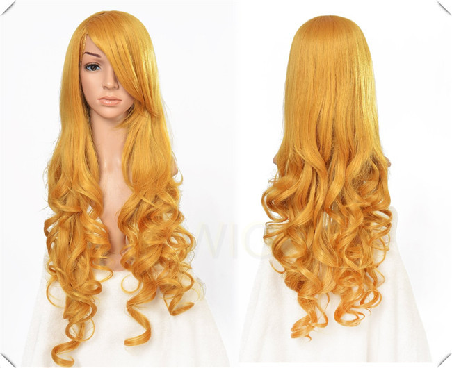 80CM 15COLORS 32Inches  GOLDEN Long Curly Cosplay Wigs Lady Wavy Wigs Free Shipping Gifted Free Wig Cap