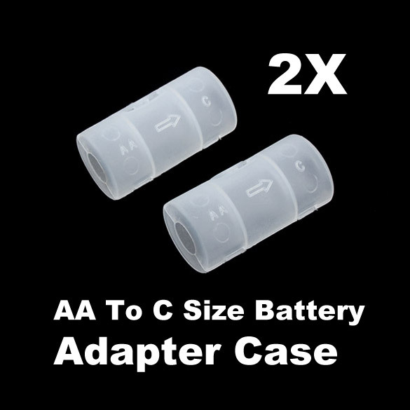 New 2Pcs/Lot AA to C Size Batteries Holder Storage Boxes Converter Switcher Adapter Case PTSP(China (Mainland))