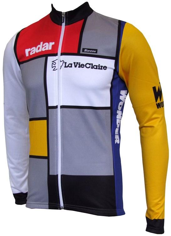 2015 santini la vie claire wonder men vintage cycling jersey retro long sleeve bike shirt summer bicycle sport wear(China (Mainland))