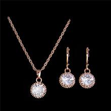 New 18K Gold Plated Round Cubic Zirconia Stylish Necklace Earrings Fashion Wedding Jewelry Sets(China (Mainland))