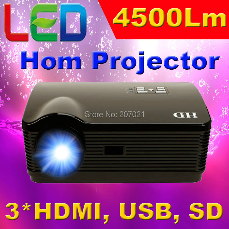 ATCO Full HD 4500Lumens Home Cinema 3D Proyector 1280*800 Video KTV Portable LED LCD TV Projectors with HDMI USB SD(China (Mainland))