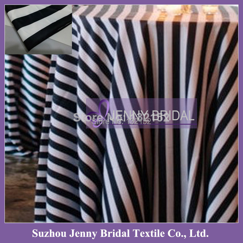 TC062B 132 inch round wholesale fancy Black And White Striped wedding Table linens(China (Mainland))