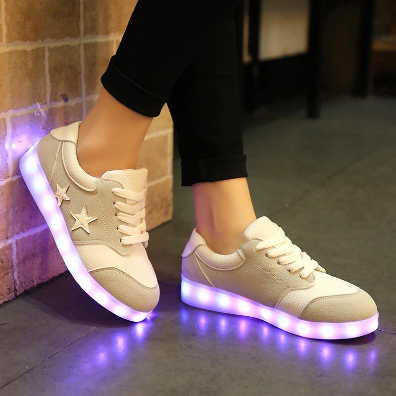 New 2016 Spring 7 Colour Luminous Shoes Ladies Fluorescent USB Couples LED Shoes Man Outdoor Casual Shoes Neon Plus Size Woman<br><br>Aliexpress