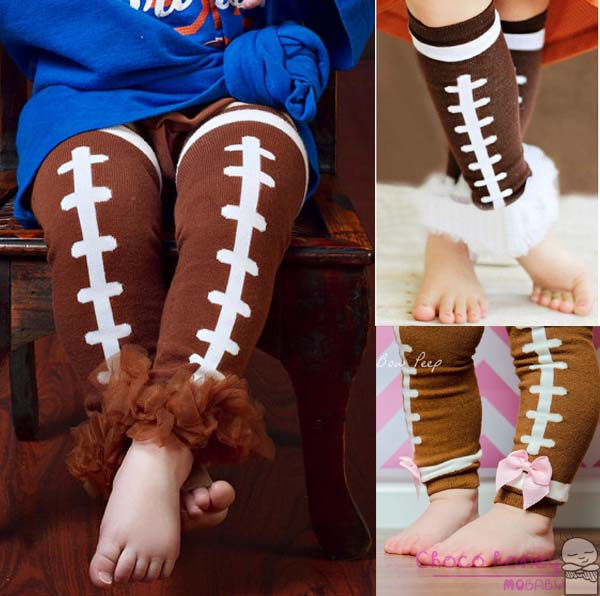 FOOTBALL Leg Warmers For Baby Boy or Girl Socks Baby Arm Warmers For Toddler Girls Kid Knee Legging sock with ruffle bow(China (Mainland))
