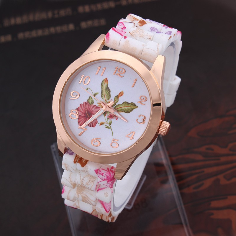 2015 Geneva Lady Flowers Watches Fashion Casual Silicone Quartz Wristwatches 2015(China (Mainland))