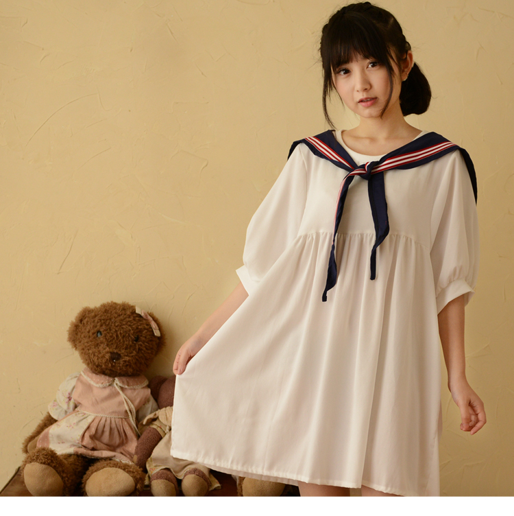 2015 summer style mori girl  white dress sailor collar preppy style short-sleeve dress young girl vestidos 50(China (Mainland))