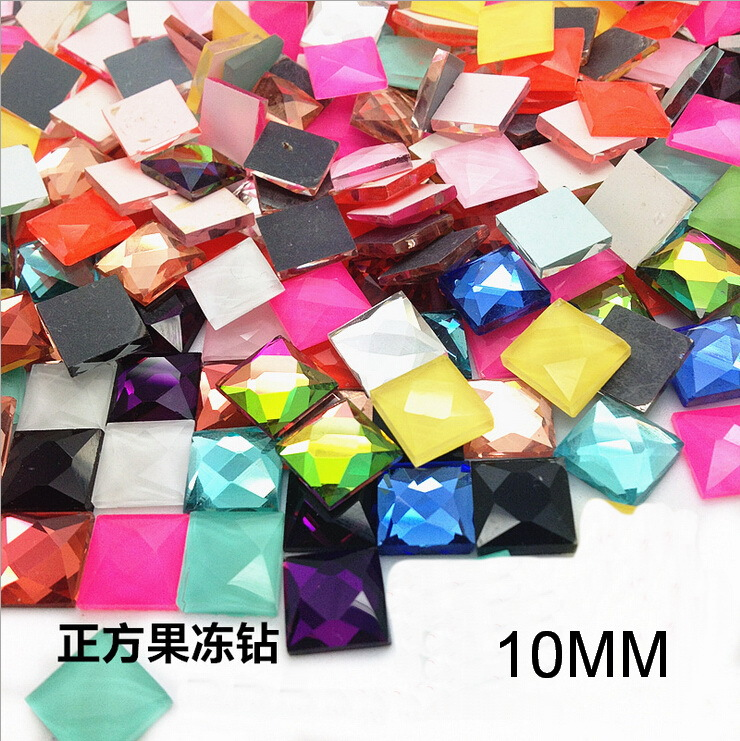 2014 Special Mixed Color Glass Beads Jelly Color Square Strass 10mm Optional Flatback Non Hotfix Rhinestones(China (Mainland))
