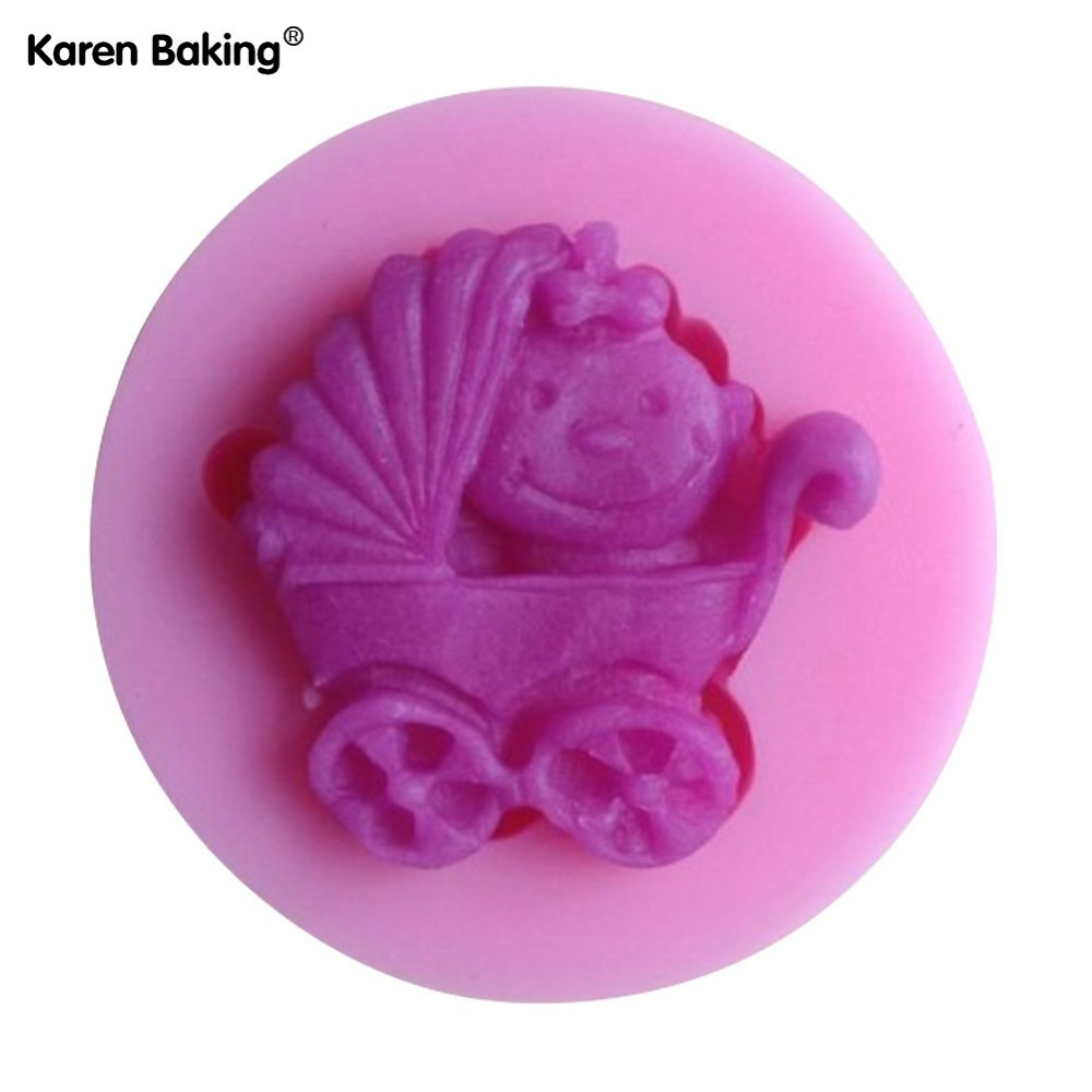 Baby Carriage Shower Party Silicone Mold Soap,Fondant Baby Mold,Candle Mold Chocolate Mold C093(China (Mainland))