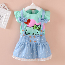 Hello Kitty Girl Dress Dresses Kids Girls clothes Children clothing Summer 2016 Toddler girl clothing Set Casual Fashion T569(China (Mainland))