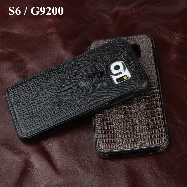 Luxury 3D Crocodile head pattern soft Crocodile skin Top leather back cover case For Samsung Galaxy S6 G9200 Phone cover(China (Mainland))