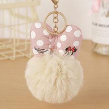 Moda coelho pele mickey pompon bola de pele macia bola chaveiro para feminino porta-chaves porta-chaves porte clef llaveros jóias 004wa(China)