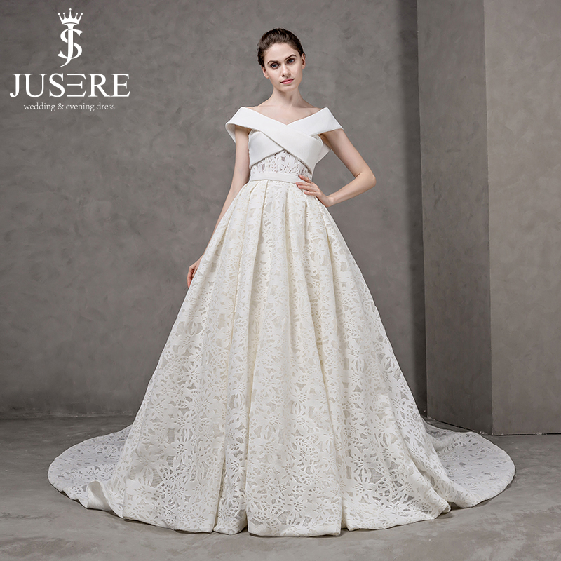jusere new spring summer vintage pleat a line lace crisscross bust v neckline bride bridal style big tail wedding dress 2017