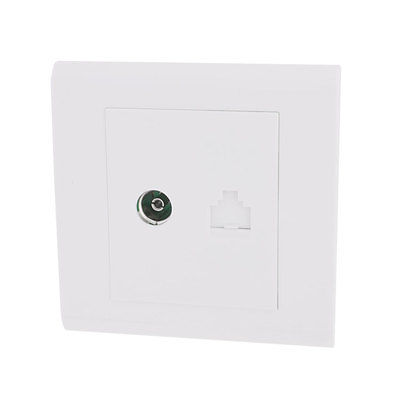 Office White Computer Television TV RJ45 Network Outlet Wall Panel Plate(China (Mainland))