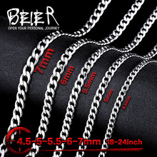 Beier stainless steel necklace new twist 4.5mm/5mm/5.5mm/6mm/7mm trendy chain necklace boy man necklace BN1025(China (Mainland))