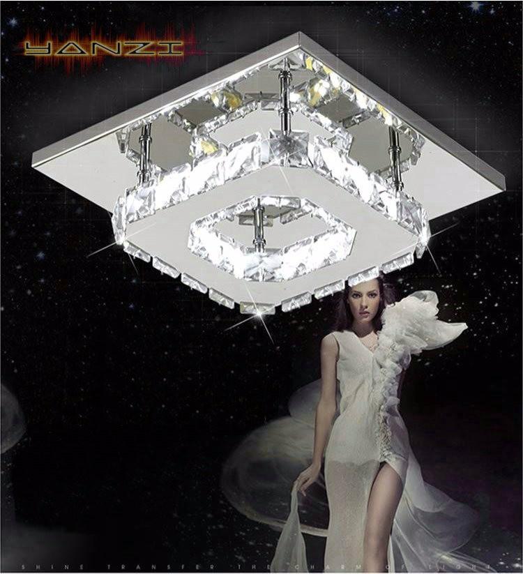 Купить Мода Потолочный Светильник Спальня Свет 12 Вт LED Хрустальные Потолочные светильники Для Поверхностного Монтажа Освещения Лампы Из Нержавеющей Стали Бесплатная Доставка