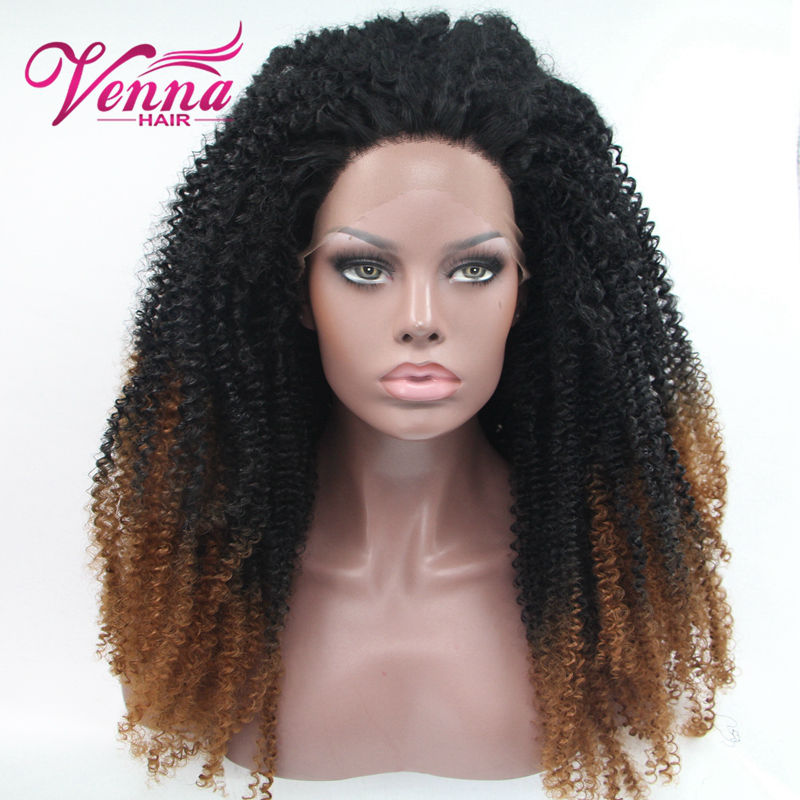 Curly Synthetic Lace Front Wig Heat Resistant Black Brown Ombre Wigs Synthetic Wigs For Black Women<br><br>Aliexpress