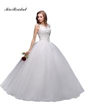 MicBridal 2016 Free Shipping Ball Gown V-Neck Beading Applique White Floor-Length Bridal Gown Wedding Dress vestido de noiva(China (Mainland))
