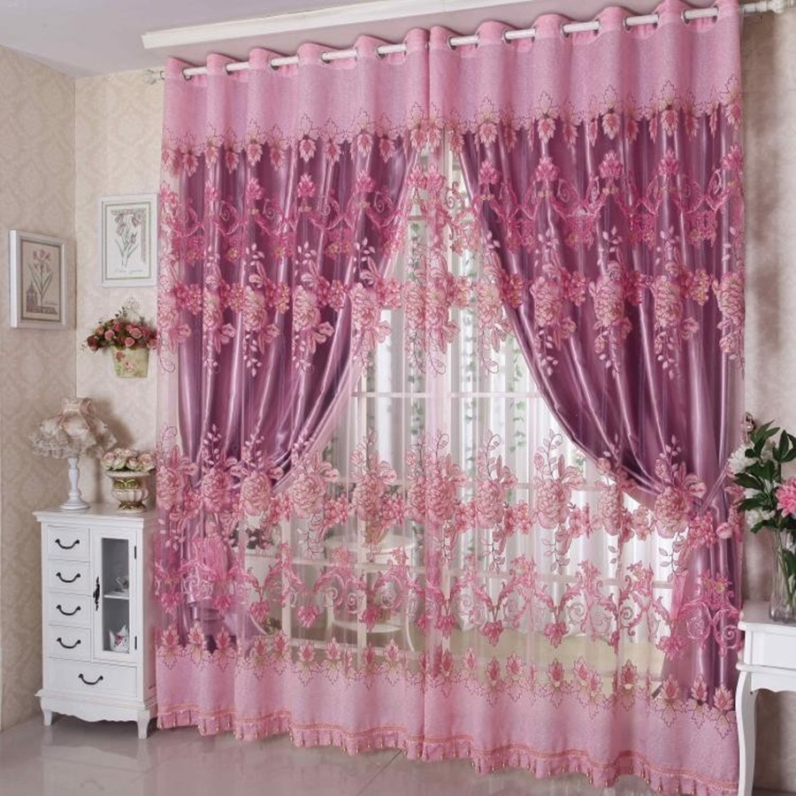 Ready made embroidery window shading draperies luxury curtains +tulle for the living room/bedding room modern blackout curtain(China (Mainland))