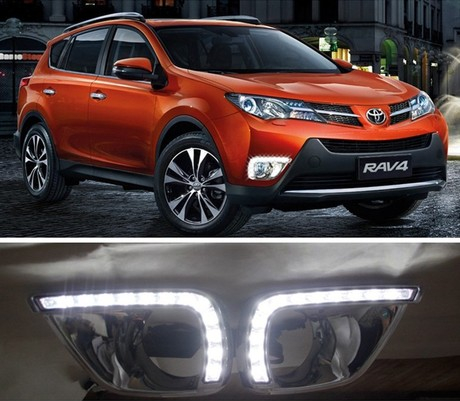 Car Daytime running light 12V LED DC DRL For Toyota Toyota RAV4 2014 2015 Fog light 2pcs<br><br>Aliexpress