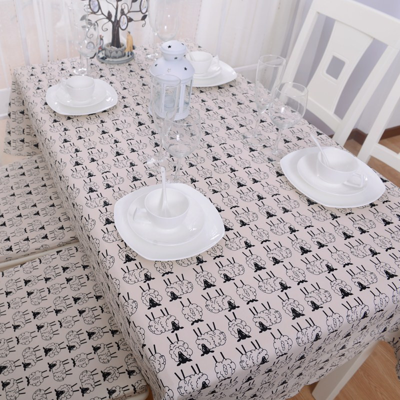 Modern Black And White Table Covers Fashion Cute Sheep Print Kitchen Table Cloths Elegant Tablecloth Party Designer Tableclothes(China (Mainland))